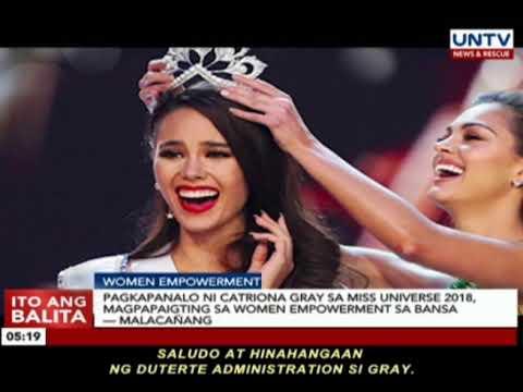 Pagkapanalo ni Catriona Gray sa Miss Universe 2018, magpapaigting sa women empowerment — Malacañang