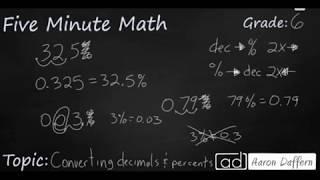 6th Grade Math Converting Decimals and Percents