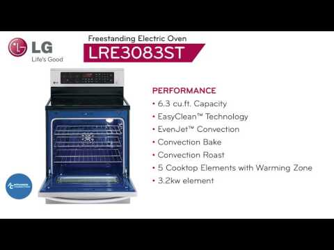 LG Electric Freestanding Range with 5 Burners LRE3083ST at www.appliancesconnection.com