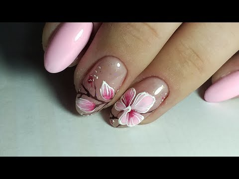 Дизайн цветы на ногтях фото