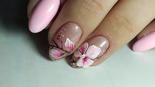 ❤ ОЧЕНЬ ПРОСТО ❤ рисуем КРАСИВЫЙ цветок НА НОГТЯХ ❤ Дизайн ногтей гель лаком ❤