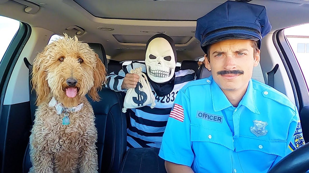 Police Surprises Skeleton & Puppy with Car Ride Chase!