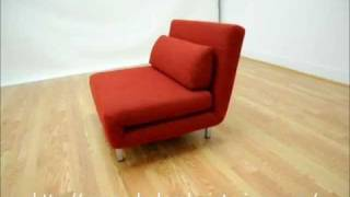 Wholesale Interiors Red Fabric 2 Seat Sofa Chair Convertible Set