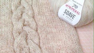 Пуловер спицами SOAVE (часть 1) / Коса спицами на 18 петель / sweater knitting