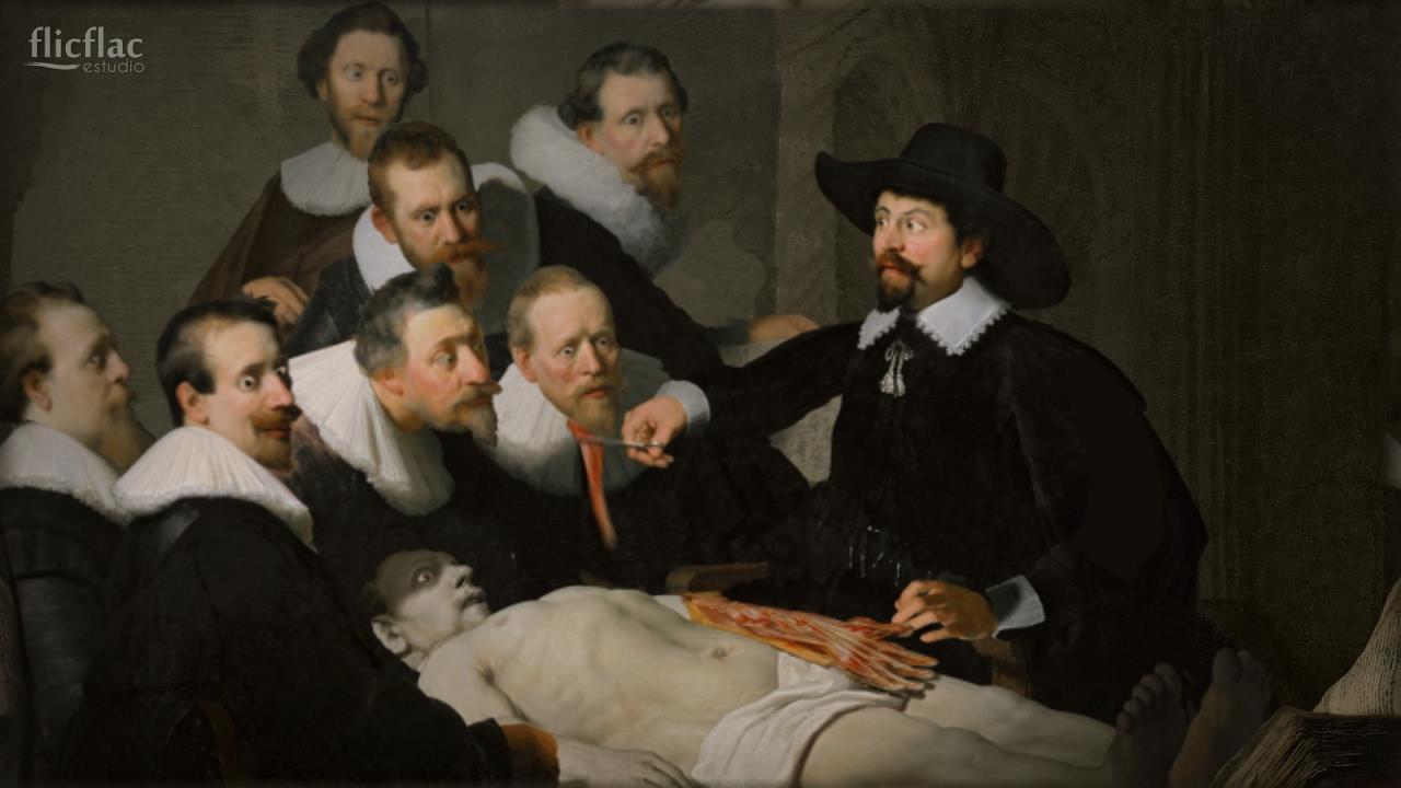 Animación 2D Rembrandt, flicflac estudio. (Lección de anatomía del Dr.  Nicolaes Tulp) - YouTube