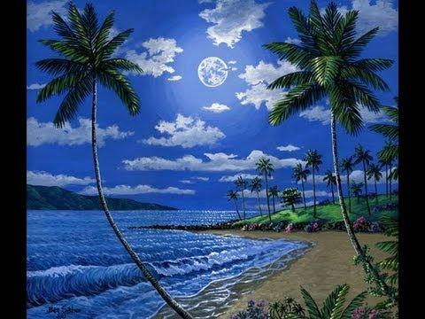come dipingere una spiaggia tropicale di notte e la luna