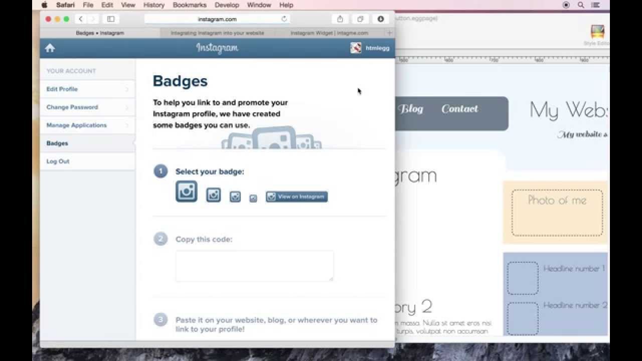 How to add a instagram badge button to your website using html egg how to add a instagram badge button to your website using html egg pro for mac ccuart Gallery