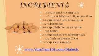 Diabetic Recipes | Chewy Raspberry Almond Bars