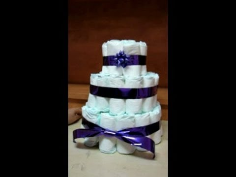Diaper Cake For Baby Shower Tutorial Youtube