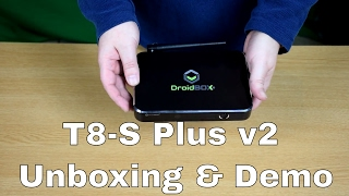 droidbox t8 s plus v2 unboxing and demo new 2017 android 6 tv box with kodi 17