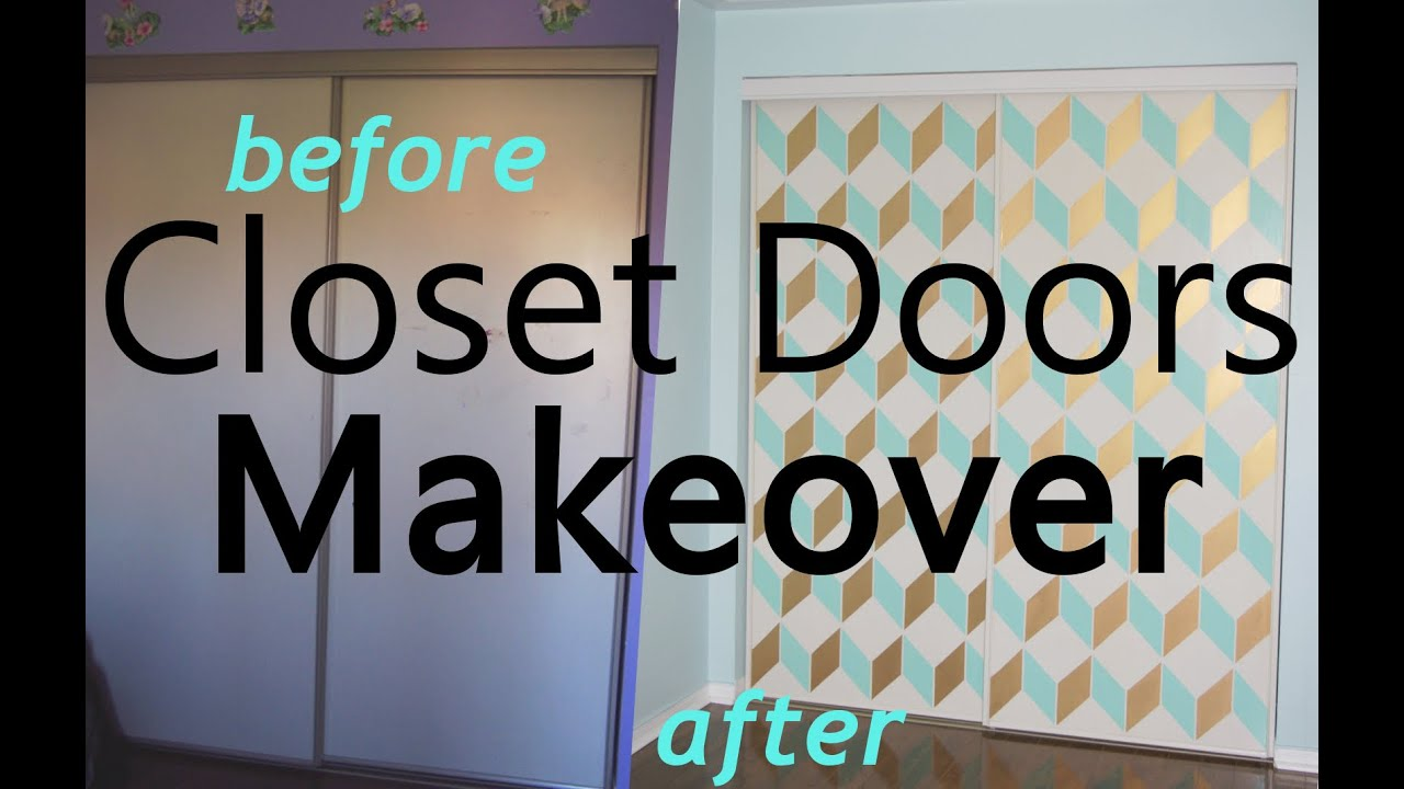 Diy Makeover Of A Set Sliding Closet Doors Before And After Youtube