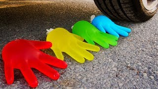Crushing Crunchy & Soft Things by Car! - EXPERIMENT: CAR vs JELLY GLOVE BALLOONS