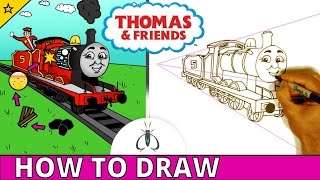 How to Draw Thomas and Friends Step by Step ♦ James ♦ Cartoon Train Drawing Tutorial for Kids