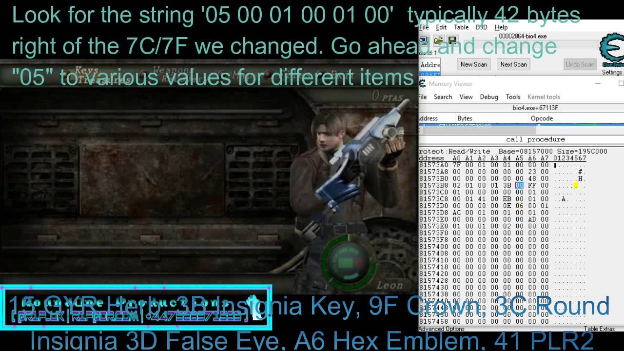 Resident Evil 4 How To Hack Any Item Infinite Ammo Youtube