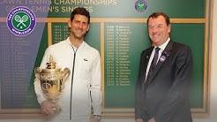 Wimbledon 2019 Champion Novak Djokovic walks through Centre Court