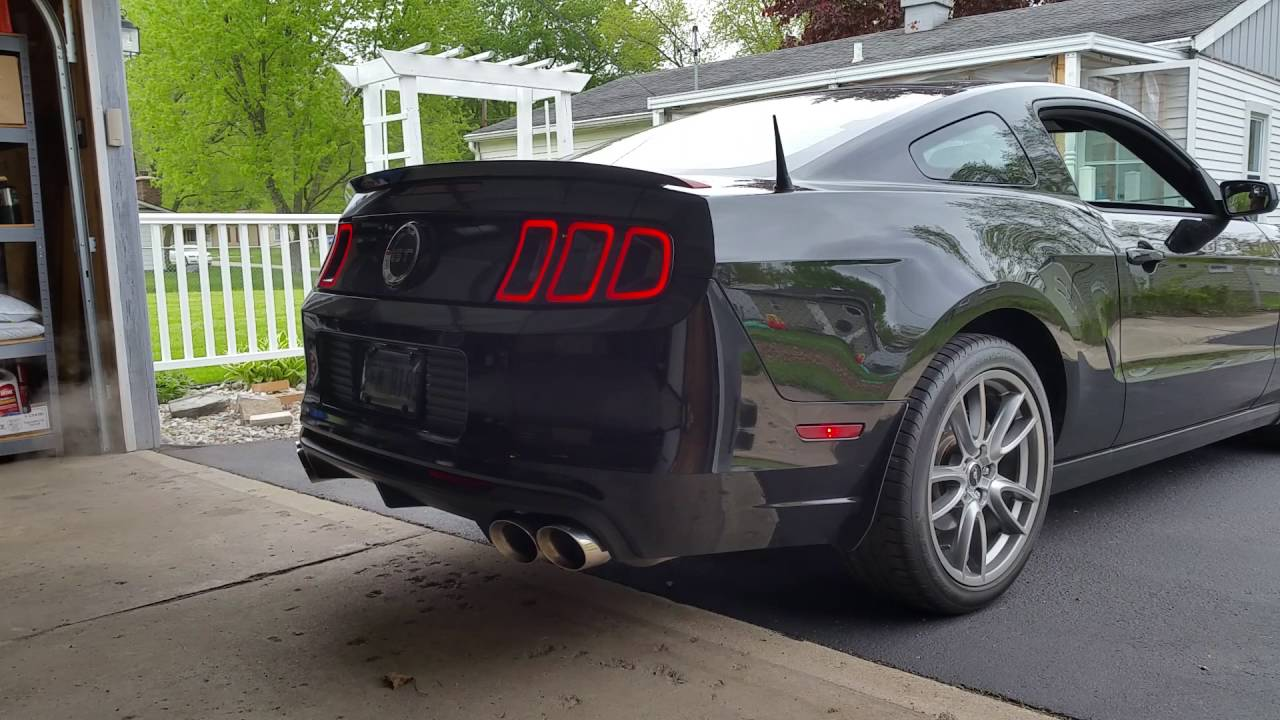 2014 mustang gt exhaust cold start and revs corsa quad tip pypes x pipe borla over axles