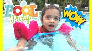 Fun Pool Day With Her Peppa Pig Swimsuit and Colorfully Life Guard