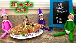 Elf on the Shelf! Green Prankster Elf Ruins Our Gingerbread Man Houses!!! Day 6