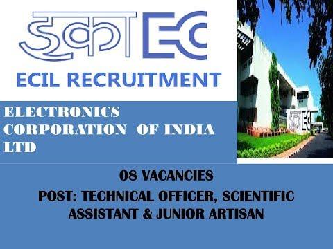 Recruitment in Electronics Corp. India ltd.(एलेक्ट्रॉनिक्स कॉर्पोरेशन) 2017, 08 पदो पर रिक्तियाँ