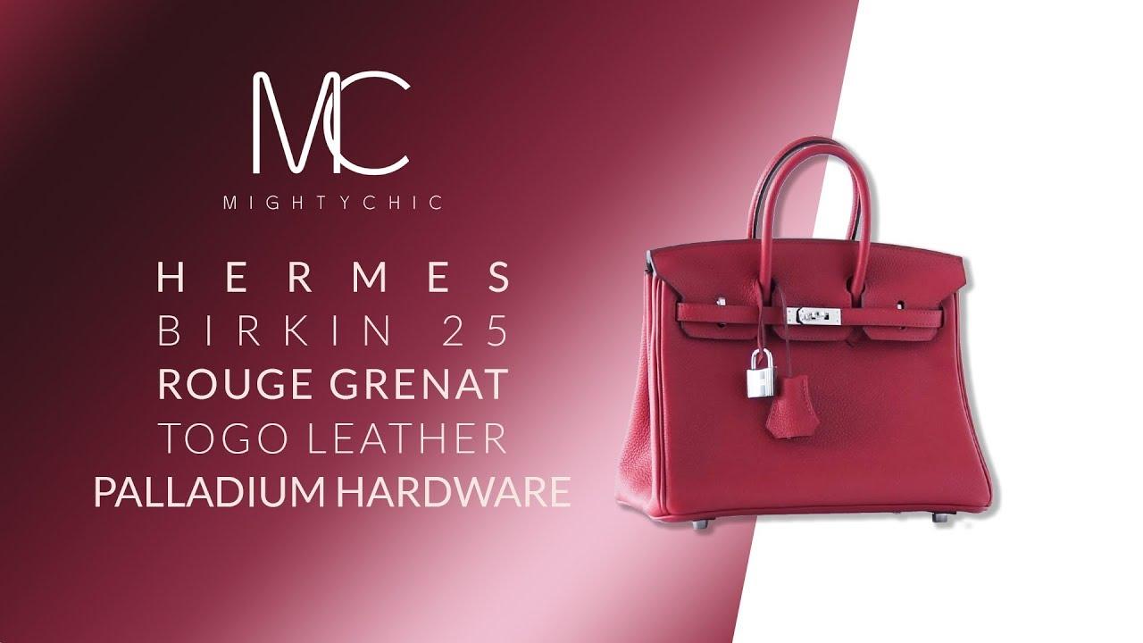 7ae254bc186e MIGHTYCHIC • Hermes Birkin 25 Bag Exotic Jewel Red Rouge Grenat Togo  Palladium