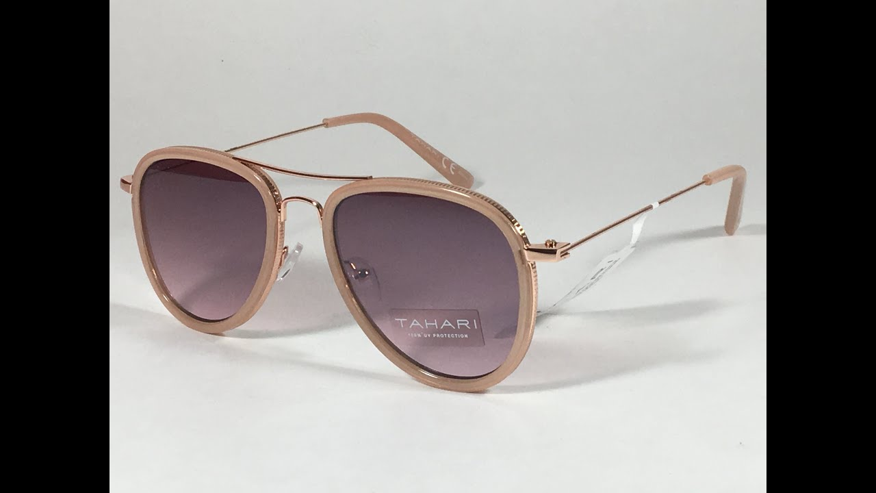 f54f6eb350 New Tahari Aviator Sunglasses Rose Gold Nude Pink Gradient Lens TH700 NDRGD