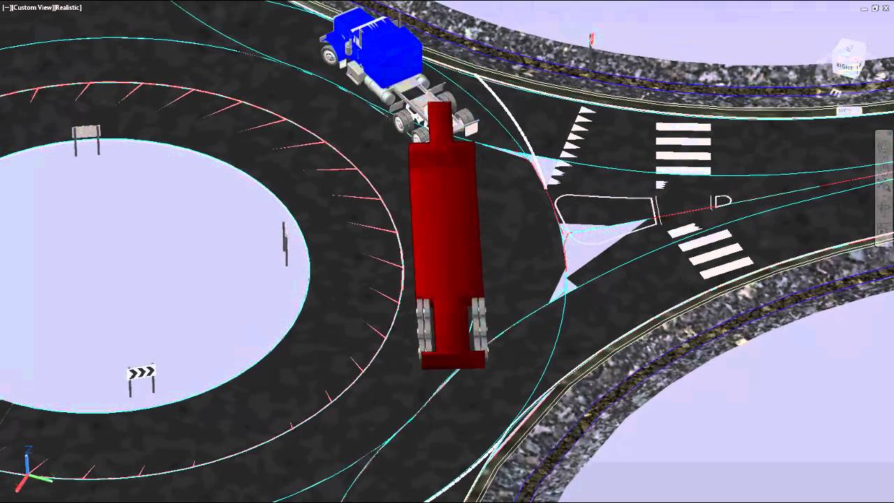3D Turn Simulation, Roundabout Design and Visualization in AutoTrack in  AutoCAD Civil 3D