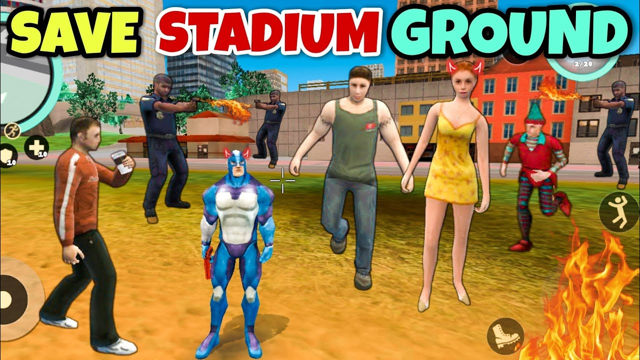 save stadium ground in rope hero vice town (android gameplay)   dynamo spider