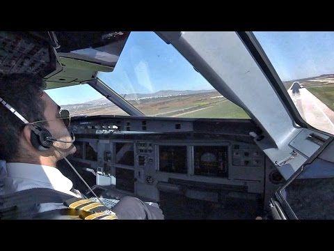 Airbus A320 Cockpit Landing at Athens | Sidestick Operation | MANUAL VISUAL APP | Cockpit View Gopro