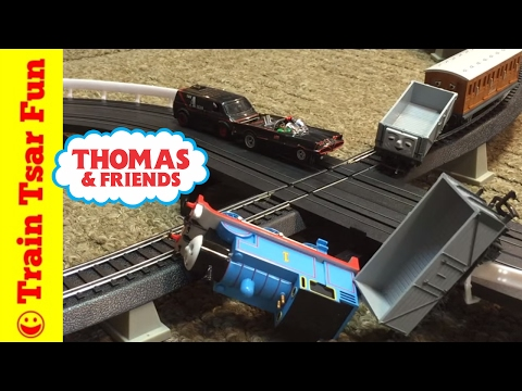 Thomas the Tank Engine, Percy, Batman, A Team – Train and Slot Car Crash!