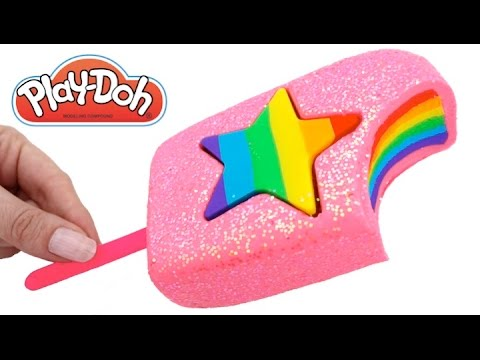 Thumbnail: Play Doh Frozen! Make Rainbow Star Glitter Ice Cream with Play Dough Clay * RainbowLearning