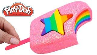 Play Doh Frozen! Make Rainbow Star Glitter Ice Cream with Play Dough Clay * RainbowLearning