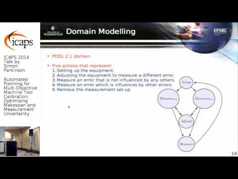 "ICAPS 2014: Simon Parkinson on ""Automated Planning for Multi-Objective Machine Tool ..."""