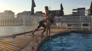 Tackling my sister into a pool in slowmo