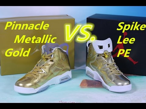 separation shoes e7653 f07fe Comparision: Air Jordan 6 Pinnacle Metallic Gold vs. Spike Lee PE