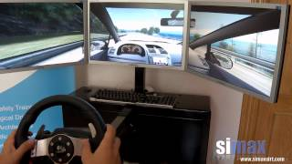Simax Driving Simulator. Mountain road driving with a triple-screen setup