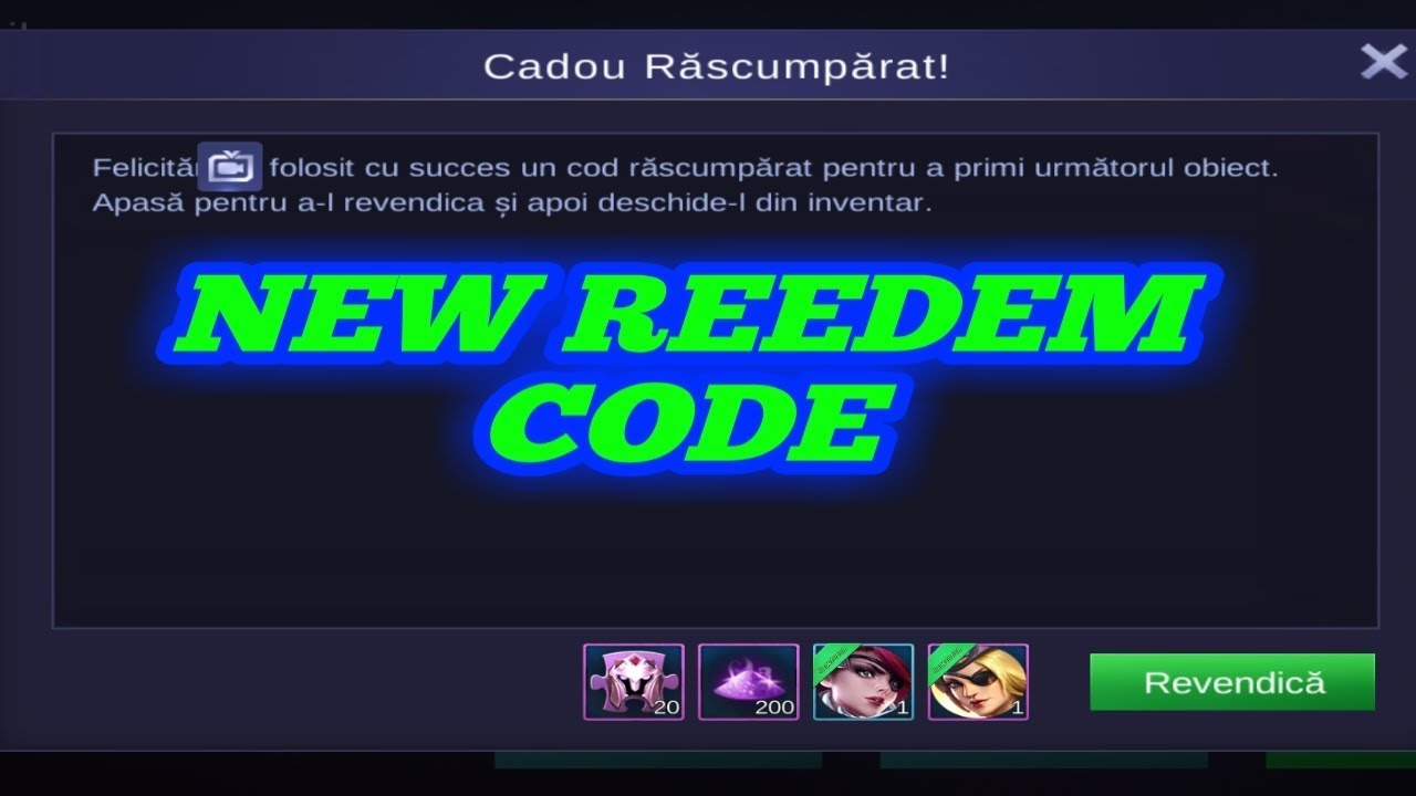 new redeem code 20 rare skin fragments mobile legend