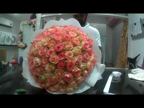 HOW TO MAKE 100 ROSES BOUQUET ,,,,