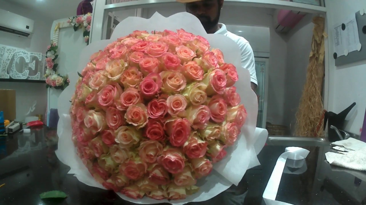 HOW TO MAKE 100 ROSES BOUQUET ,,,, - YouTube
