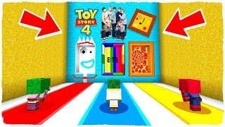 ¡NO ELIJAS LA DIMENSIÓN EQUIVOCADA! FORKY de Toy Story 4, BTS y PIZZA en Minecraft
