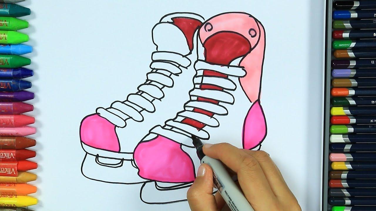 Wie zeichnet man Schlittschuh ⛸  Ausmalen Kinder HD  Malen für Kinder   Zeichnen und Färben