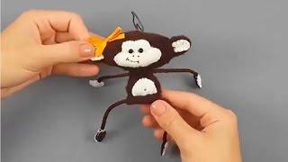Игрушка Обезьянка символ 2016 г своими руками  Елочная игрушка видео мастер класс