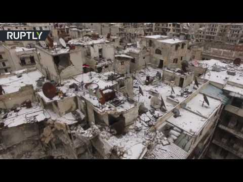 First snow in Aleppo: Bird's-eye view of conflict-torn city