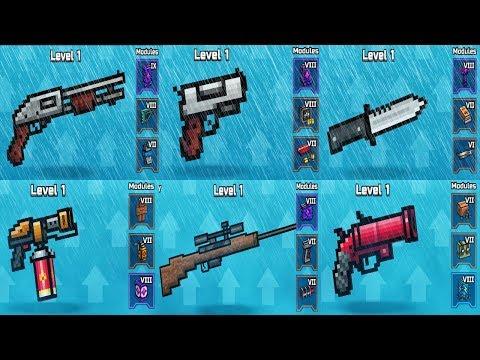 Starter Weapons With 8-9 Lvl Modules, Its OP? - Pixel Gun 3D Gameplay