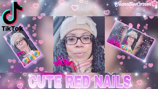 MUST WATCH TIKTOK SHORT |  MY CUTE RED NAILS | (being silly) ?| JEANETTIE'S CORNER