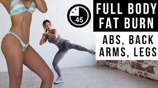45 Min Full Body FAT BURN Workout | Get Flat Abs, Lean Legs & Arms | No Jumping Ver Included