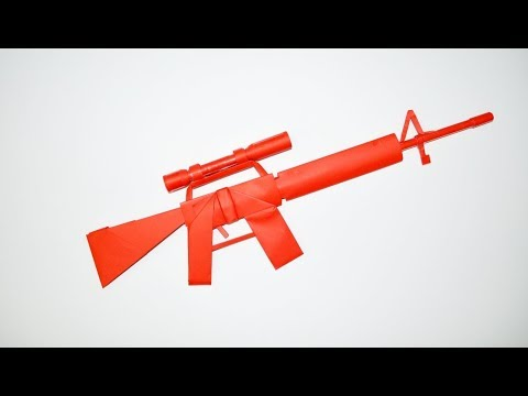 How to make a paper gun - M 16 - sniper rifle - DIY - paper toy - origami