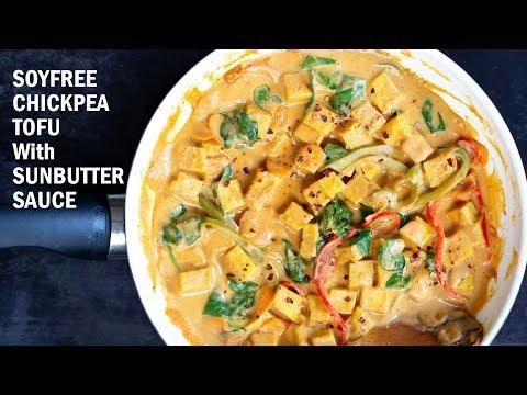 SOYFREE CHICKPEA TOFU WITH SUNBUTTER SAUCE (Nutfree Peanut Sauce) | Vegan Richa Recipes
