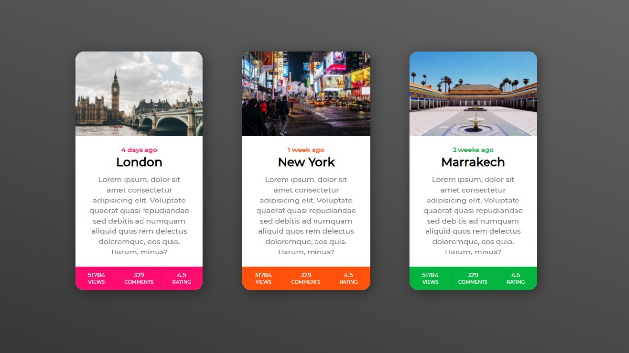 Awesome Cards List Using CSS and HTML