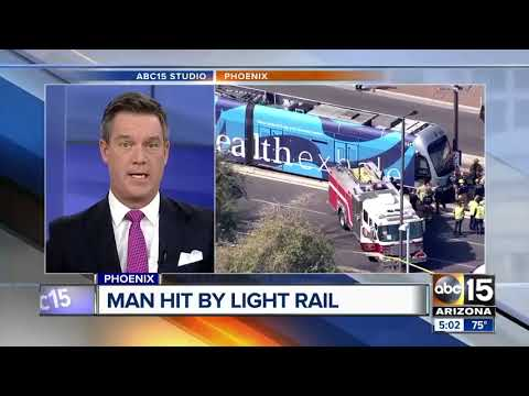 Man seriously hurt after hit by light rail in Phoenix