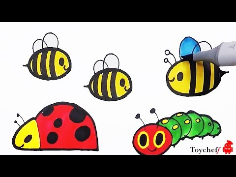 Colorful Drawing Bugs & Dinosaur for KIDS |  곤충과 공룡그림 색칠놀이